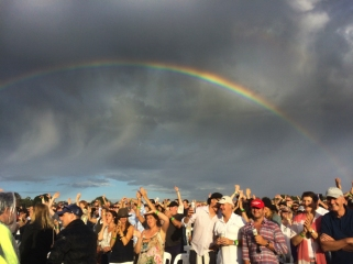 sun rain rainbows and smiles hanging rock concert